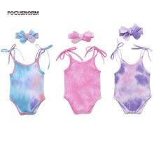 0-24M Tie-Dye Infant Baby Girls Boys Bodysuits Headband 2pcs Printed Sleeveless Belt Jumpsuits
