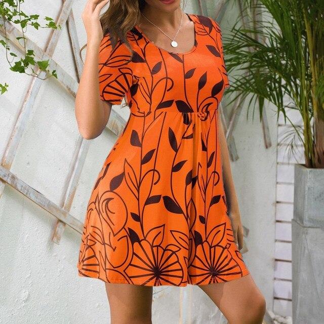 2021 Summer dress women Large Size Beach Boho Print Short Sleeve Women Casual Party Loose Mini Dress Sun dress Dresses for women 6