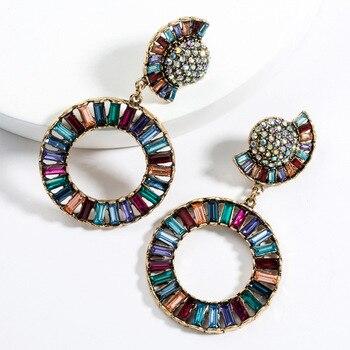 KMVEXO Colorful Crystal Drop Earrings Women Round Geometric Pendant Dangle Earrings Indian Bridal Statement Jewelry Party Bijoux 19