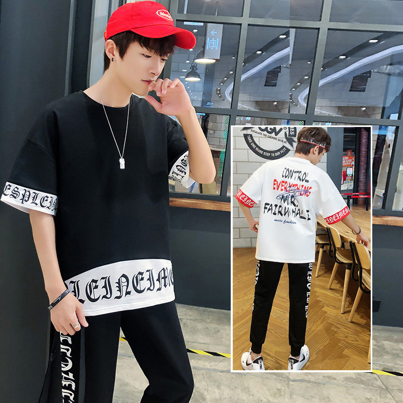 2019 New Style Men's Short-sleeved T-shirt Trend Casual Sports Summer Set Spring And Summer Half Sleeve Popular Brand Men's Suit