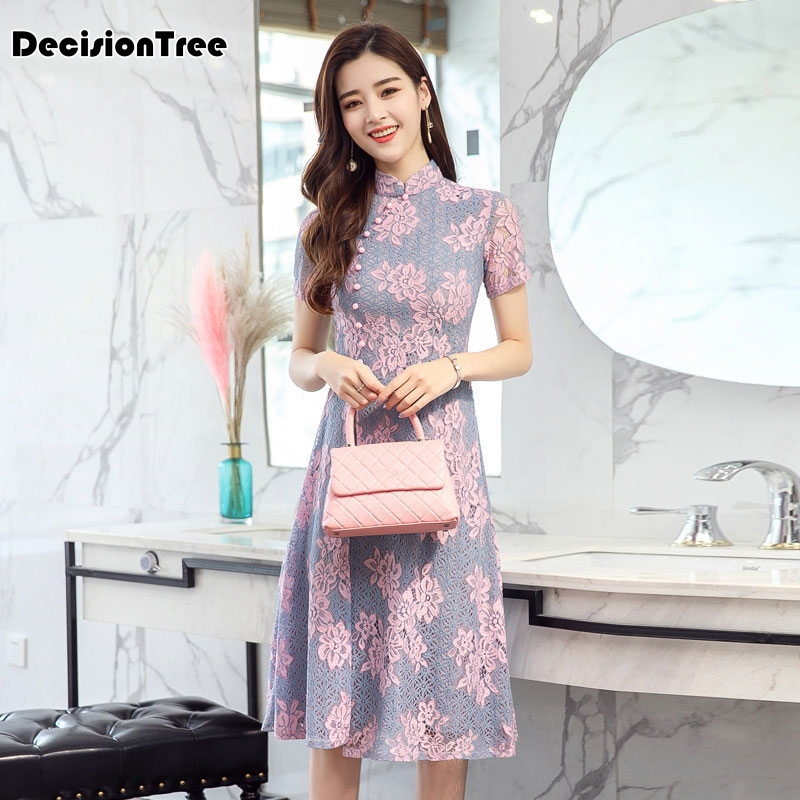 2020 Champagne Traditional Chinese Dress Qipao Ladies Evening Dresses Flok Cheongsam Women Bride Short Lace Party Qipao
