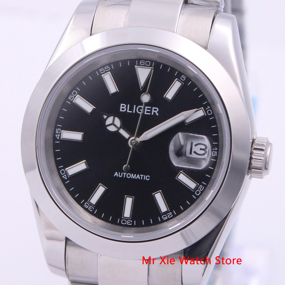 Bliger 39mm Automatic Mechanical Men Watch Luxury Calendar Luminous Waterproof Sapphire Glass Stainless Steel Case Men's Watch