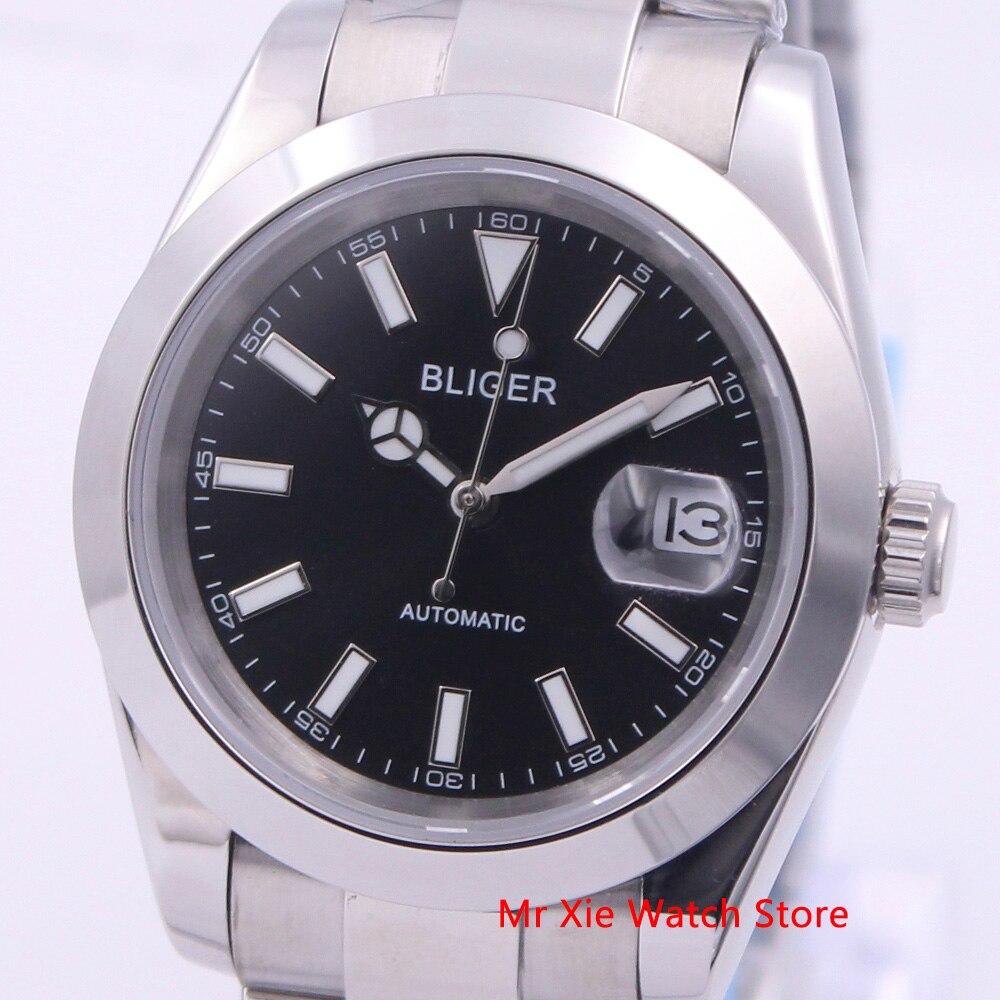 Bliger 39mm Automatic Mechanical Men Watch Luxury Calendar Luminous Waterproof Sapphire Glass Stainless Steel Case Men's Watch