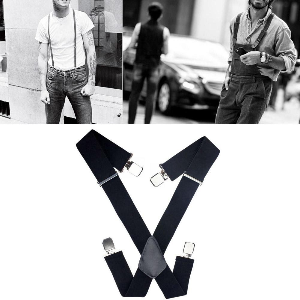 Adjustable Men Trouser Suspender Clip On Elastic Unisex Wide Black Hot