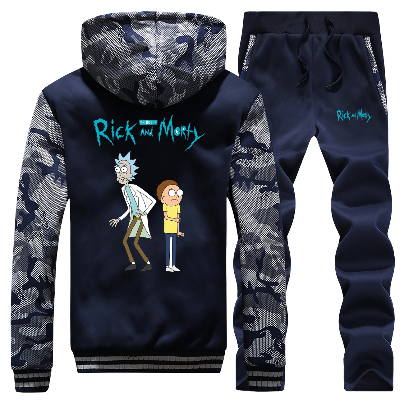 Rick And Morty Mens Hoodie+Sweatpants Winter Thick Male Coat Zip New Arrival Men Trousers Brand Streetwear Tracksuit 2 Piece Set