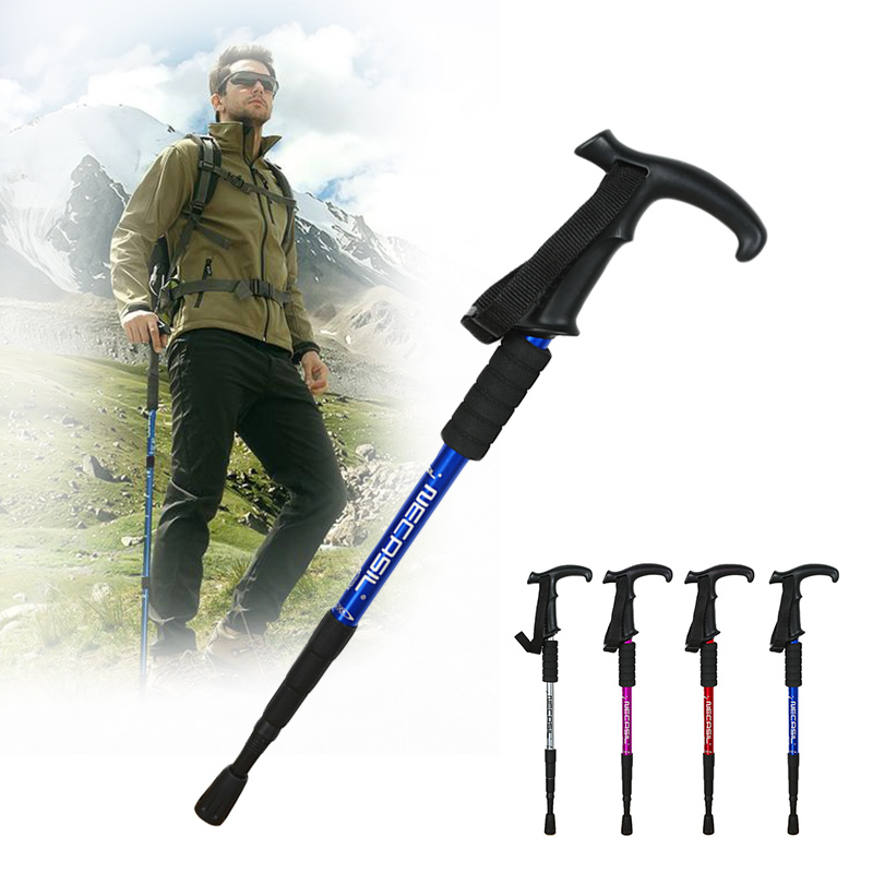 50-110 Cm Walking Stick Folding Trekking Poles 4 Section Anti Shock Adjustable Telescopic Canes Stick For Outdoor Hiking Camping