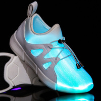 2019 Little Kids Led Fiber Optic Shoes for Girls and Boys USB Charger Glowing Sneakers Man and Women Light Up Shoes Size 25 40