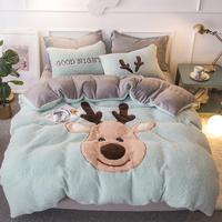 New lamb velvet fabric elk bedding sets Christmas bed set double Twin queen size bed cover set bed sheet set pillowcase