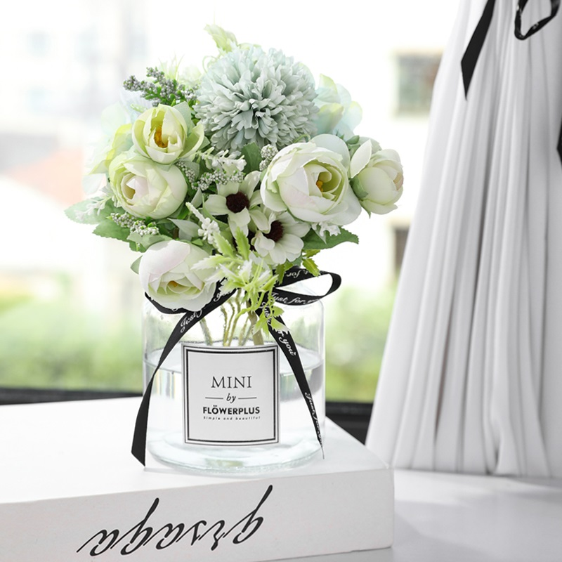 Yumai 7 Heads Hydrangea Silk Artificial Flowers Bouquet For Wedding Centerpieces Decor 5