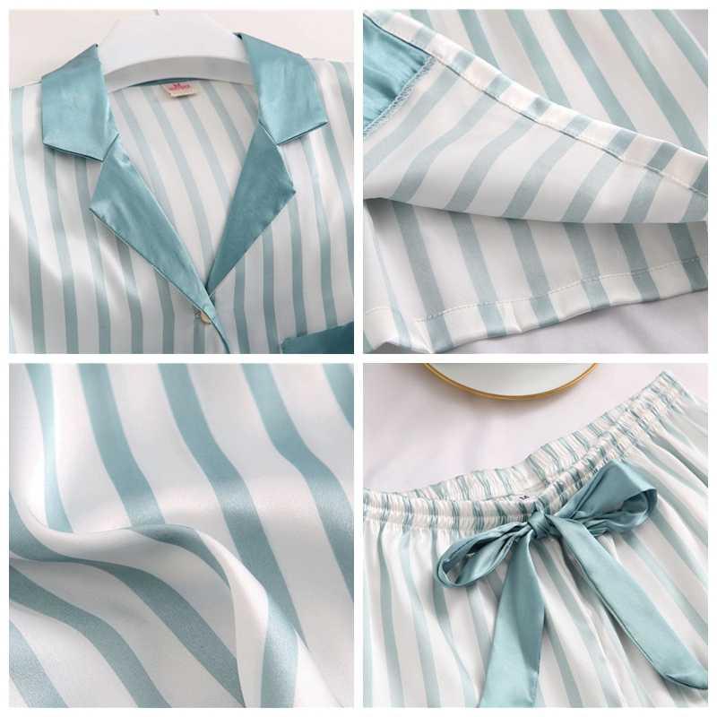 귀여운 여자 잠옷 잠옷 두 조각 세트 실크 Pijama 새틴 반소매 셔츠 + 반바지 밤 정장 학생 Pyjama Homewear