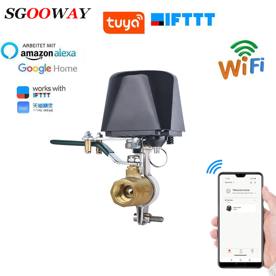 Sgooway Tuya Amazon Alexa Google Assistant IFTTT Smart Wireless Control Gas Water Valve Smart Life WiFi Shut OFF Controller