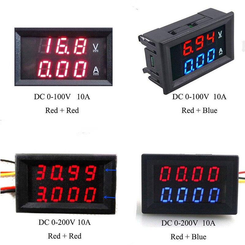 Panel de voltímetro amperímetro ajustable voltímetro Detector de amperios doble pantalla Led CC 0-100 V 10A LCD medidor de corriente de voltaje Digital