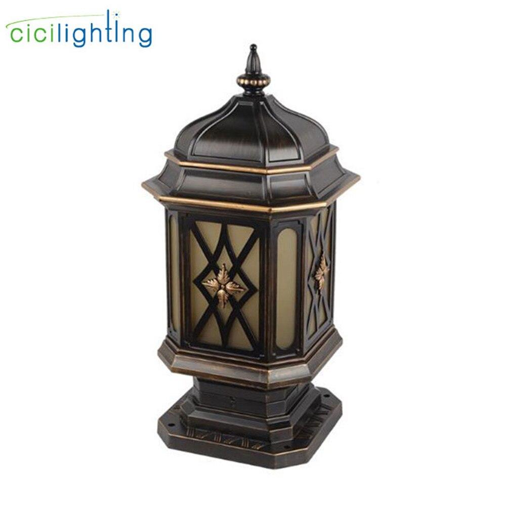 Europe pilier lampe jardin boundry lumière extérieure cour clôture villa pilier lumières passerelle chemin colonne vintage poste lumières