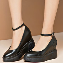 Fashion Sneakers Women Ankle Cross Strap Genuine Leather Wedges High Heel Pumps Shoes Female Pointed Toe Mary Janes Casual