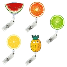 Badge Reels Pass-Holder Clip-Id Pull Retractable Cute for Fruits Easy