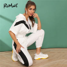 Romwe Sport Cut And Sew Zipper Hoodie and Drawstring Sweatpants Jogging Suits for Women Fitness Wear Half Sleeve Two Piece Set cut and sew panel tee