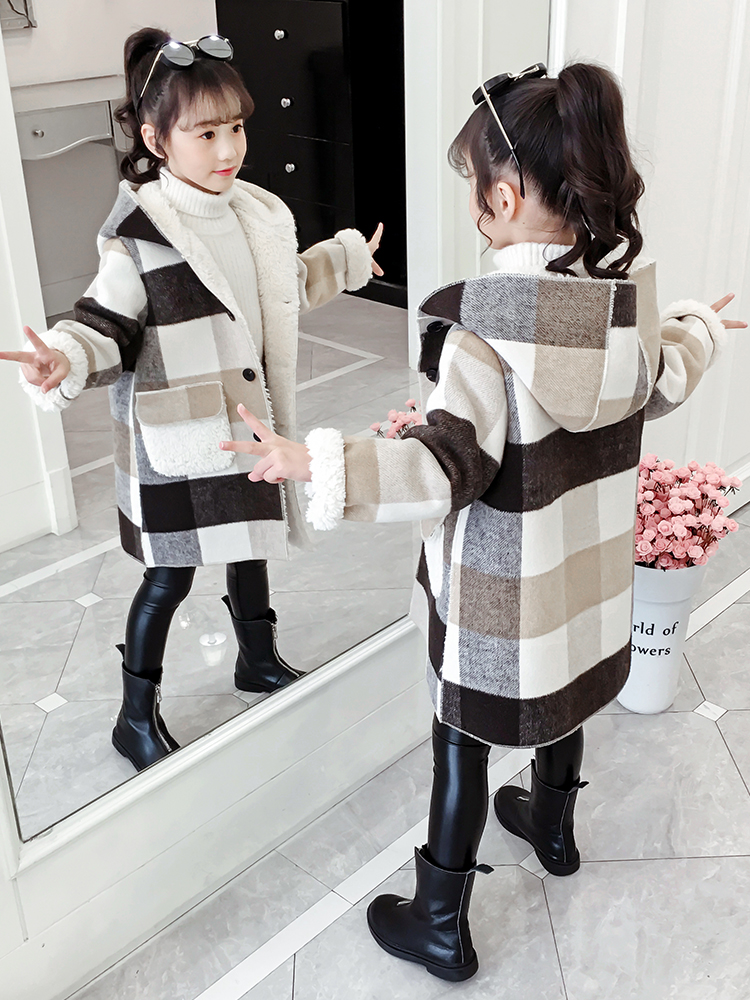Teen Girls Wool Coat Girls Clothes Long Sleeved Plaid Kids Jacket For Girls Winter Coat Outerwear Children Clothing 7 8 10 12 13