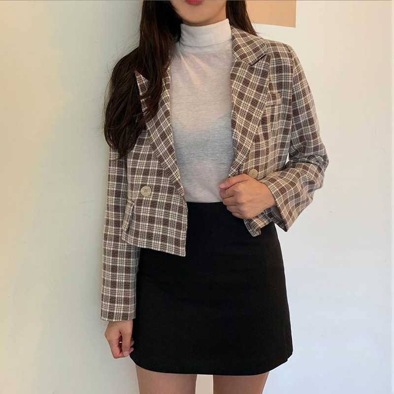 Hot sale2019 autumn and winter England style women's new plaid long-sleeved Notched single buckle short paragraph Slim suit coat