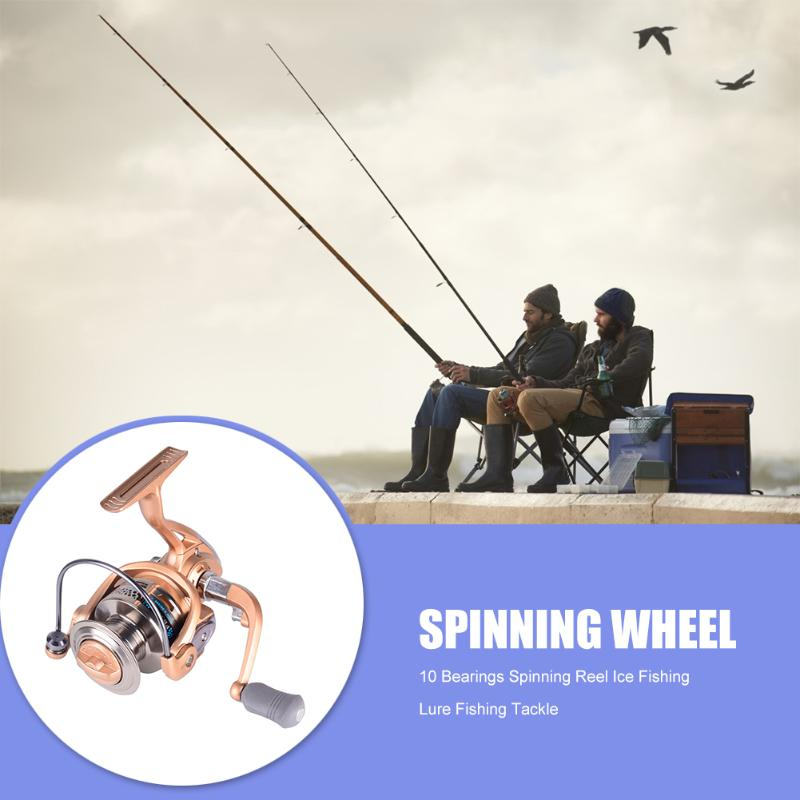 5.2:1 Gear Ratio Spinning Fishing Reel Steel Bearings Anti-fall Champagne Gold Sea Fishing Fixed ReelAngling Tackle