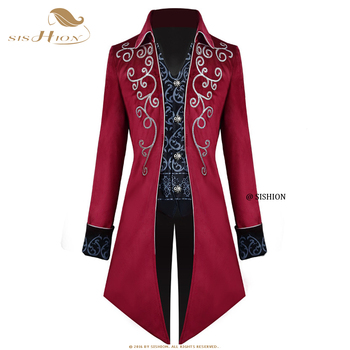 SISHION Men Medieval Victorian Costume Tuxedo Gentlema Tailcoat Gothic Steampunk Trench VD1735 Vintage Frock Outfit Coat for Men 1