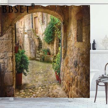 Scenery Decor Shower Curtain By Ambesonne Landscape From Another Door Antique Stone Village Bathroom Waterproof Shower Curtain