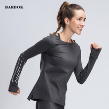 BARBOK Women Gym Yoga Tops Shirts Long Sleeve Workout Fitness Running Sport T-Shirts Training Autumn Sportswear