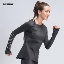 лучшая цена BARBOK Women Gym Yoga Tops Yoga Shirts Long Sleeve Workout Fitness Running Sport T-Shirts Training Yoga Autumn Sportswear