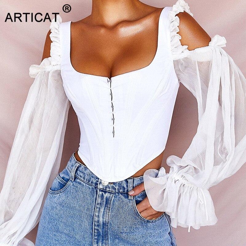 Articat белая шифоновая Сексуальная футболка женская мода квадратный воротник скрытый однобортный Тонкий бандажный укороченный топ открытая ...