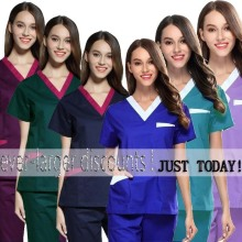 Women's Fashion Scrubs Set V Neck Contrasting Color Design Top + Elastic Waistline Pants Pure Cotton Nursing Uniforms