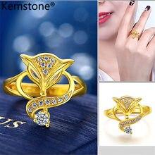 Женское кольцо-манжета с фианитом, золотистого цвета
