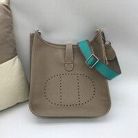 Leather diagonal bag Eveline large wide shoulder strap leather shoulder bag fashion new H original lychee pattern