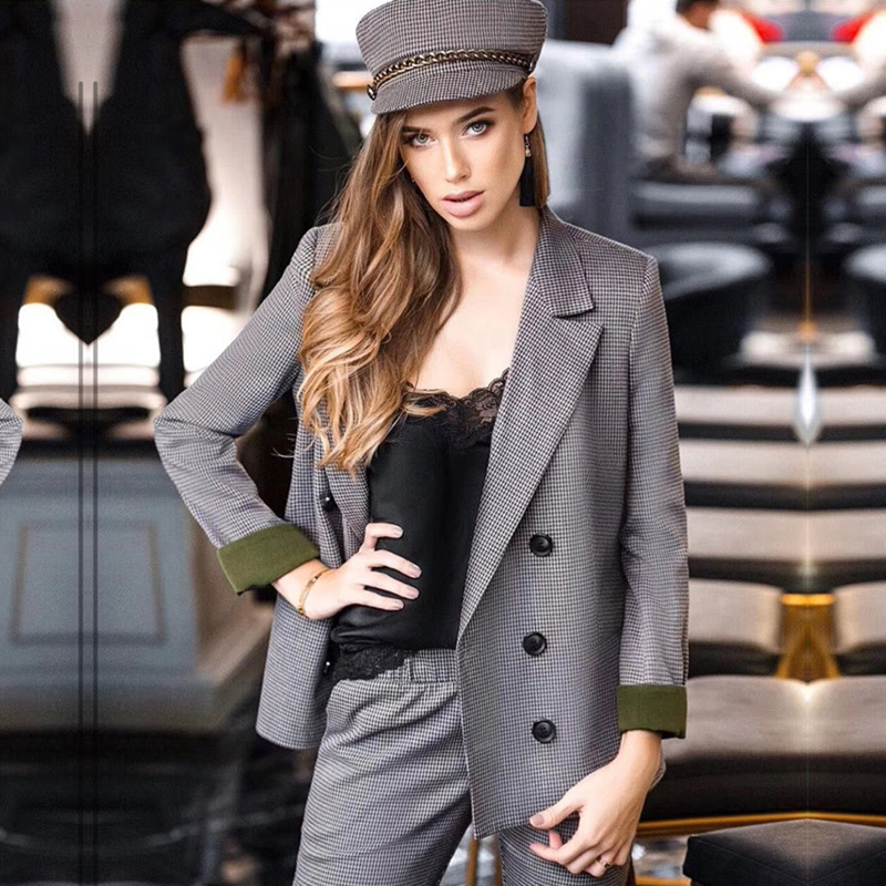 Blazer Sets with pant Chic Costume Autumn Double Breasted Office Ladies Plaid Blazer Suits Sets Fashion for Women 2 piece set in Pant Suits from Women 39 s Clothing