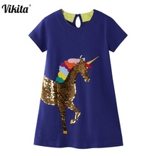 Kids Unicorn Dresses Toddler Dresses for Girls Cotton Clothes Girls Princess Dress Children Licorne Clothing Baby Girl Dress miss haiwo fall kids dresses for girls pure cotton baby girl clothes stripes rainbow color girls long dress children s clothing