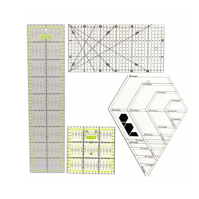 4 Pcs/lot Patchwork Ruler Sewing Tool Accessories Patchwork Ruler Set Fabric Cutting Ruler Student DIY Handmade Ruler
