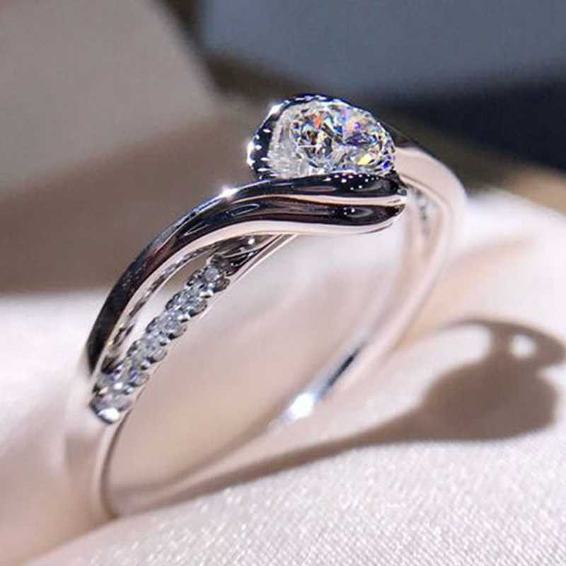 Classic Engagement Ring AAA White Cubic Zircon Female Women Super Flash Rhinestone Wedding Band CZ Rings Jewelry