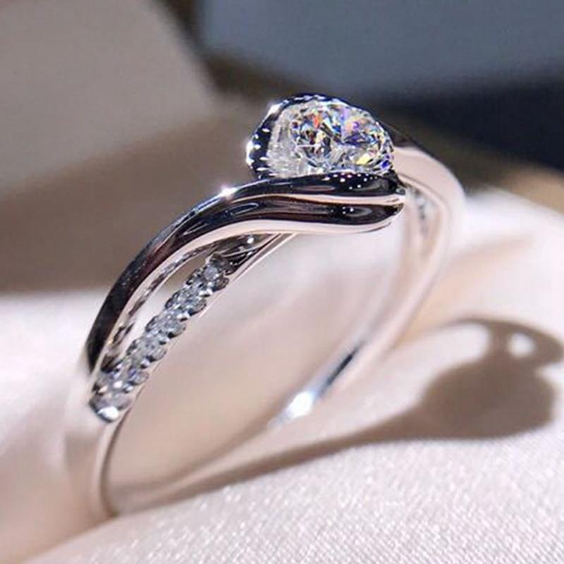 Classic Engagement Ring AAA White Cubic Zircon Female Women Super Flash Rhinestone Wedding Band CZ Rings Jewelry