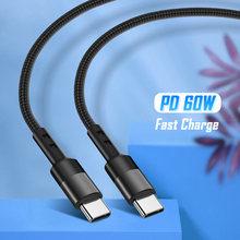 60w usb tipo c para usb tipo c pd cabo do telefone móvel usbc tipo c carga rápida dados cabel typec carregador rápido kabel para samsung s20