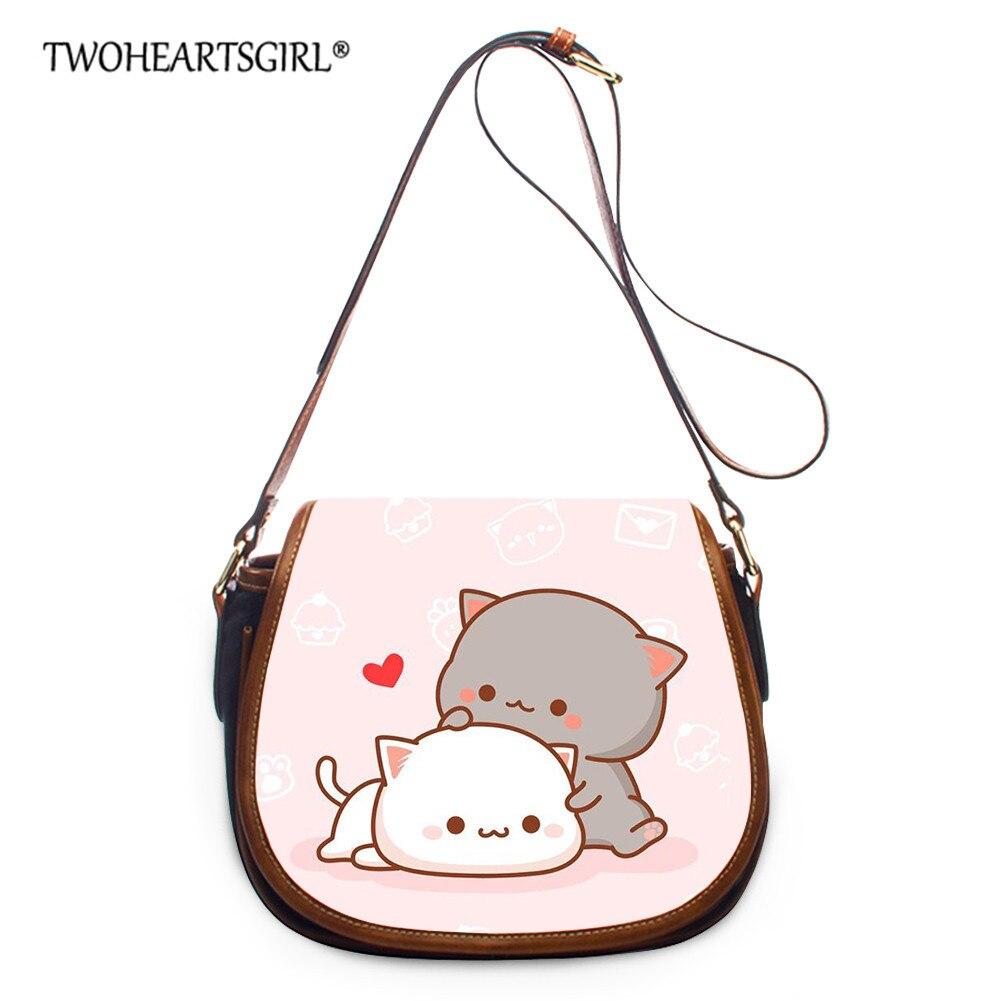 Twoheartsgirl Cute Pink Cat Small Messenger Bags Women StylishSimple Shoulder Handbags, for Teen Girls Daily Hasp Cartoon Totes