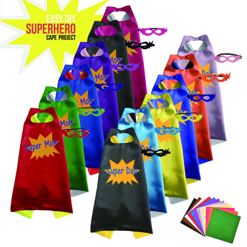 2019 Diy Merasa Super Hero Jubah Double Sisi Kain Satin Super Hero Cape + Masker Pesta Supplie Ulang Tahun Anak pesta Cosplay