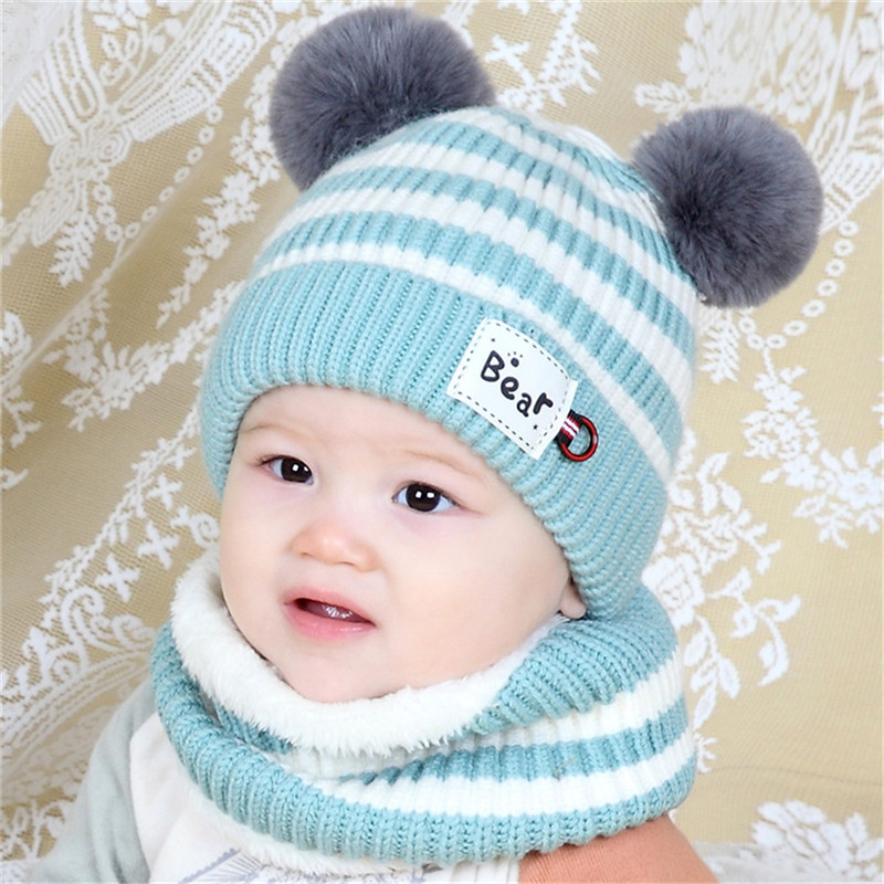 Newborn Infant Baby Boy Girl Pom Warm Hat Scarf Winter Crochet Wool Knit Bobble Beanie Solid Fitted Cap Set Popular Hot O18