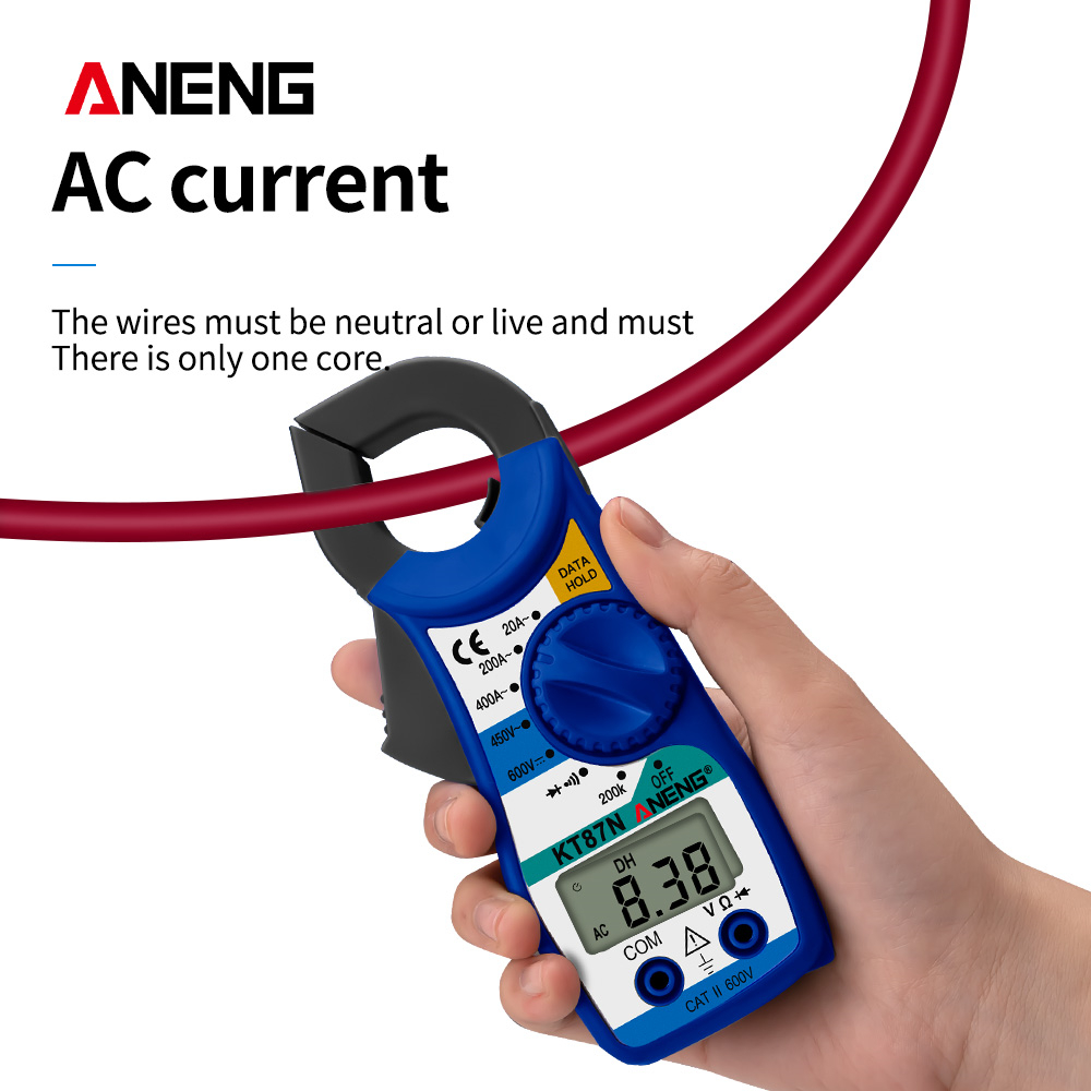 Mini Digital Clamp Meters AC/DC Voltage AC Current 600v True RMS Multimeter Capacitance Electrical Megger Tester KT87N