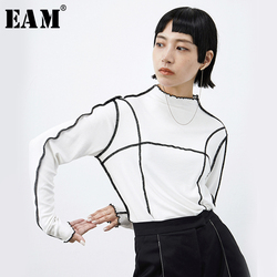 [EAM] mujeres negro blanco a rayas de empalme Hit Color ajuste camiseta nueva manga larga cuello de pie moda Primavera otoño 2019 1B665