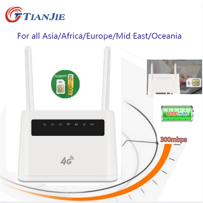 Antenna Unlocked 300Mbps Wifi Routers 4G Lte Cpe Mobile Router With LAN Port SIM Card Portable Wireless Cpe Router Sim Card Slot