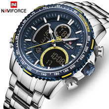 NAVIFORCE Men Watch Top Luxury Brand Big Dial Sport Watches Mens Chronograph Quartz Wristwatch Date Male Clock Relogio Masculino tanie tanio Podwójny Wyświetlacz 3Bar Składane zapięcie z bezpieczeństwem STAINLESS STEEL Hardlex Papier 45 5 NF-9182 ROUND Kompletna kalendarz