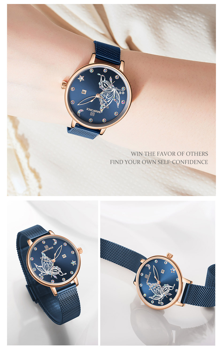 Hd361d66c594046fbb0789ce833dd01a8z - NAVIFORCE Luxury Brand Watch Women Fashion Dress Quartz Ladies Mesh Stainless Steel 3ATM Waterproof Casual Watches for Girl