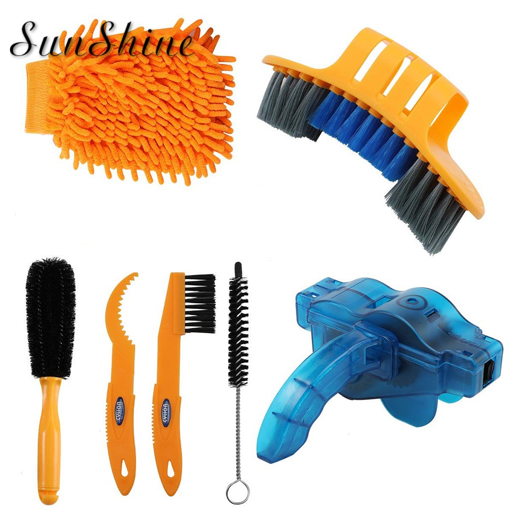 7 Pcs Bicycle Cleaning Chain Brush Washing Tool Gear Garbage Brush Cleaner Mountain Bike Cleaning Kit Bicycle Accessories