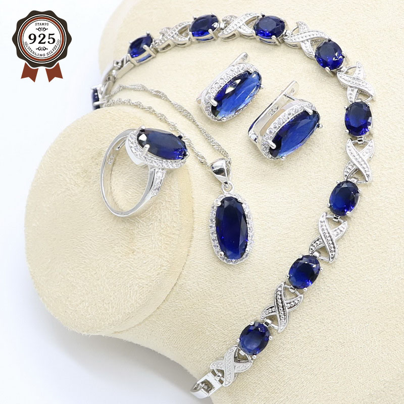 Jewelry-Set Bracelet Earrings Pendant-Ring Necklace Zircon 925-Sterling-Silver Women