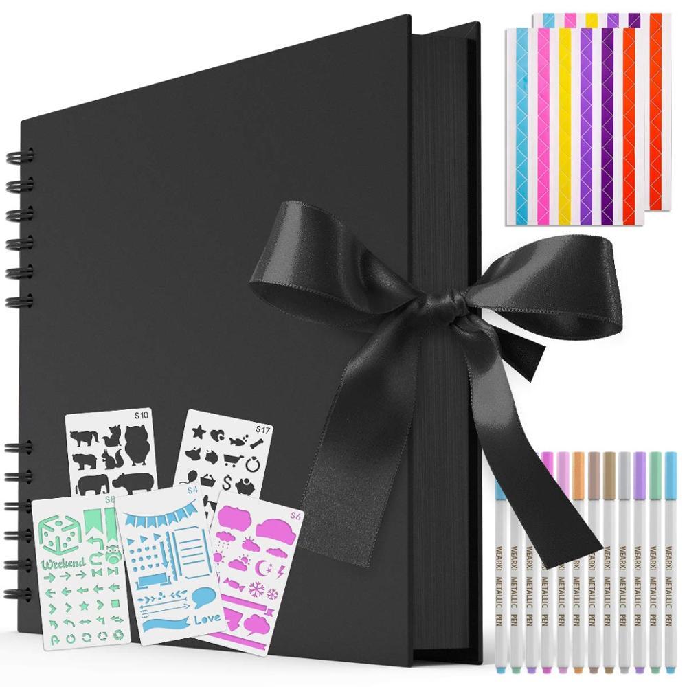 80Pages DIY Photo Album Set Scrapbook Paper Picture Album 12 Marker Pens Colorful Photo Corners