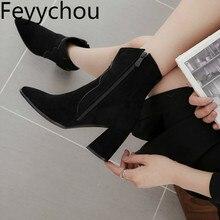 여성 부츠 하이힐 발목 심플 겨울 다목적 솔리드 컬러 부츠 지퍼 플록 지적 발가락 레이디 신발 Size34 48 블랙 베이지