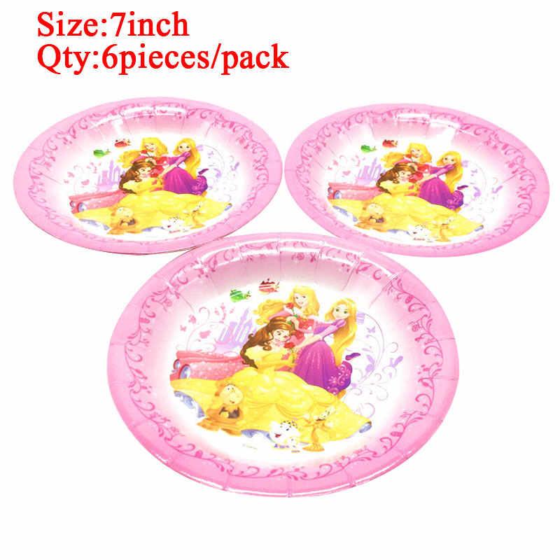 Disney princesse fête d'anniversaire décorations fournitures enfants assiettes jetables nappe tasses chapeau bébé douche filles faveurs coffret cadeau